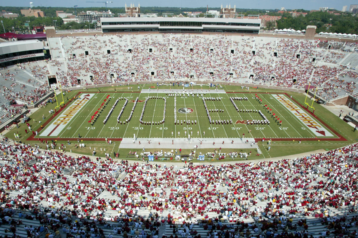 Photo of the halftime show at a football game in Doak stadium