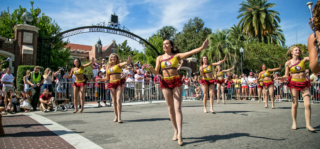 Photo of Majorettes performing in Homecoming Parade